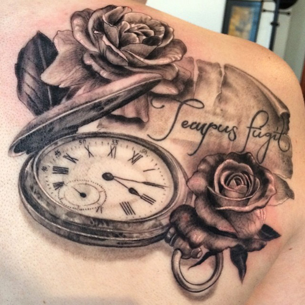rose with watch tattoo