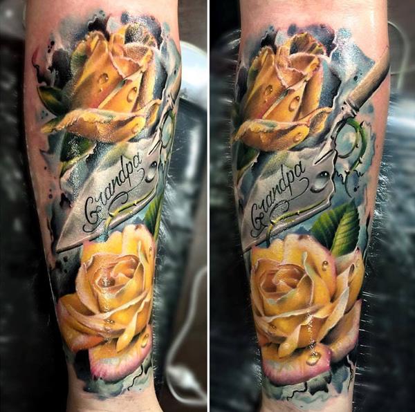 yellow roses on leg