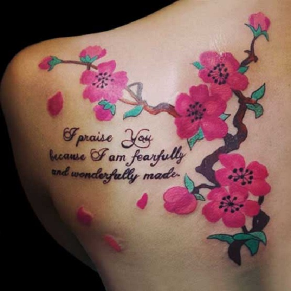Best cherry blossom tattoo designs with this beautiful quote as if it wanted to convey a message from a girl's life experience. This is a record of the experience is to be conveyed to the cherry blossoms.