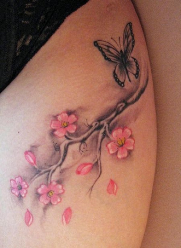 70 Beautiful Cherry Blossom Tattoos on Swallow Bird Tattoo Design