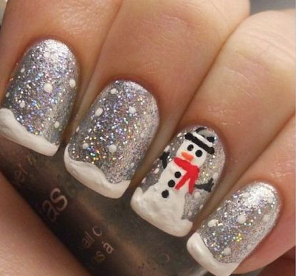 Christmas Nails Art - Silver Sparkle