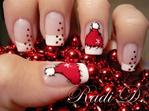 Check out this wonderful Santa hat nail art. Be creative and paint on Santa  hat - 65 Christmas Nail Art Ideas - Nenuno Creative