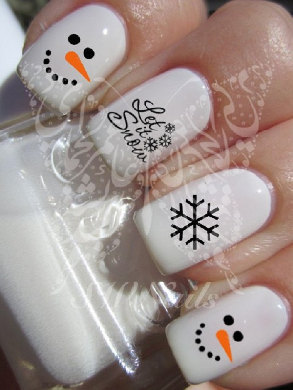 65 christmas nail art ideas nenuno creative snowman inspired nail art white is the key polish in this design along with black prinsesfo Image collections