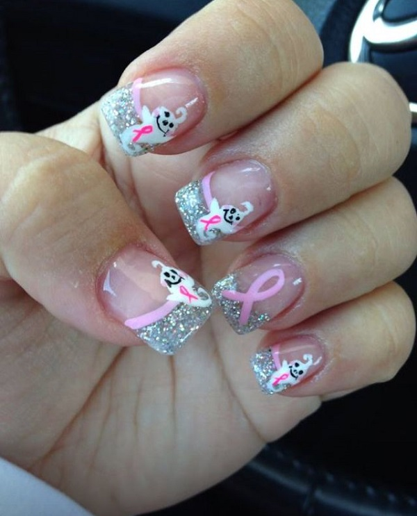 65 christmas nail art ideas nenuno creative ribbon christmas inspired french tip give some love to your french tip by adding silver prinsesfo Image collections