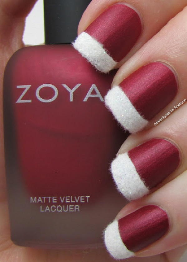 take a peek at this very creative and classy christmas nail art use a matte