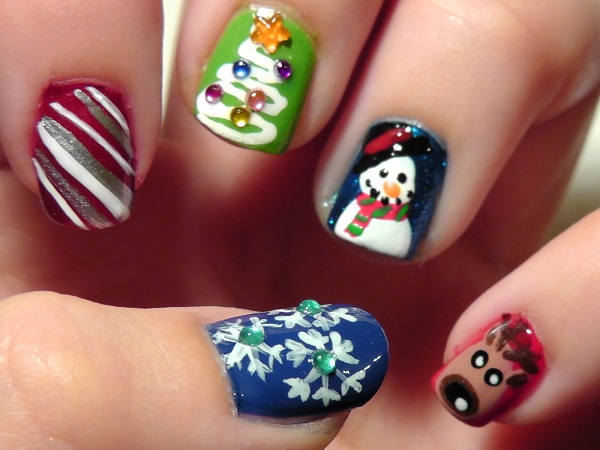 insert randomness into your christmas art with these various characters color your nails in different