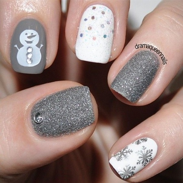 white and silver themed christmas nail art be creative and combine white and gray glitter