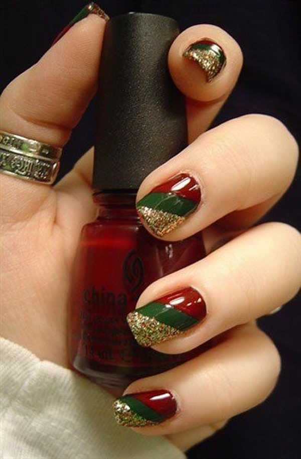 Go for an elegant Christmas nail art design like this. Using deep red and  green - 65 Christmas Nail Art Ideas - Nenuno Creative