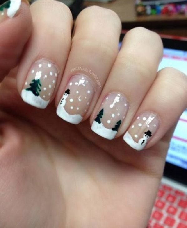 Paint wonderful snow landscapes on your nails with this Christmas nail art  design. Use clear - 65 Christmas Nail Art Ideas - Nenuno Creative