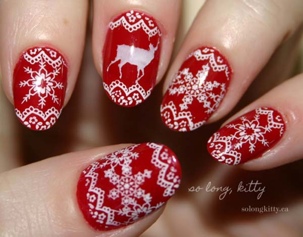 white and red laces christmas nail art paint your nails in adorable lace patterns using - Red Christmas Nails