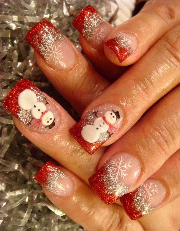 Fill your nails with this glittery red and white Christmas nail art design.  Use glitter - 65 Christmas Nail Art Ideas - Nenuno Creative