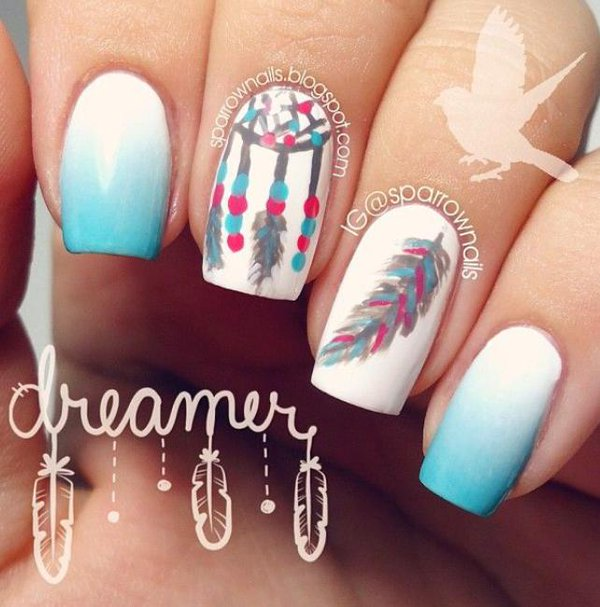 Dreamcatcher feather and ombre nail art
