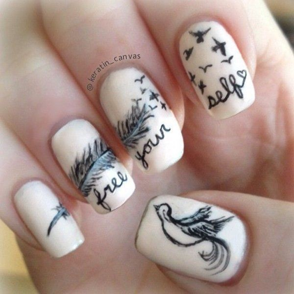 Feather Nail Art 17