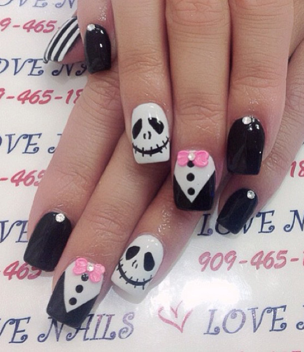 Start by painting on your base coat. Make sure the base is dry before you - 65 Halloween Nail Art Ideas - Nenuno Creative