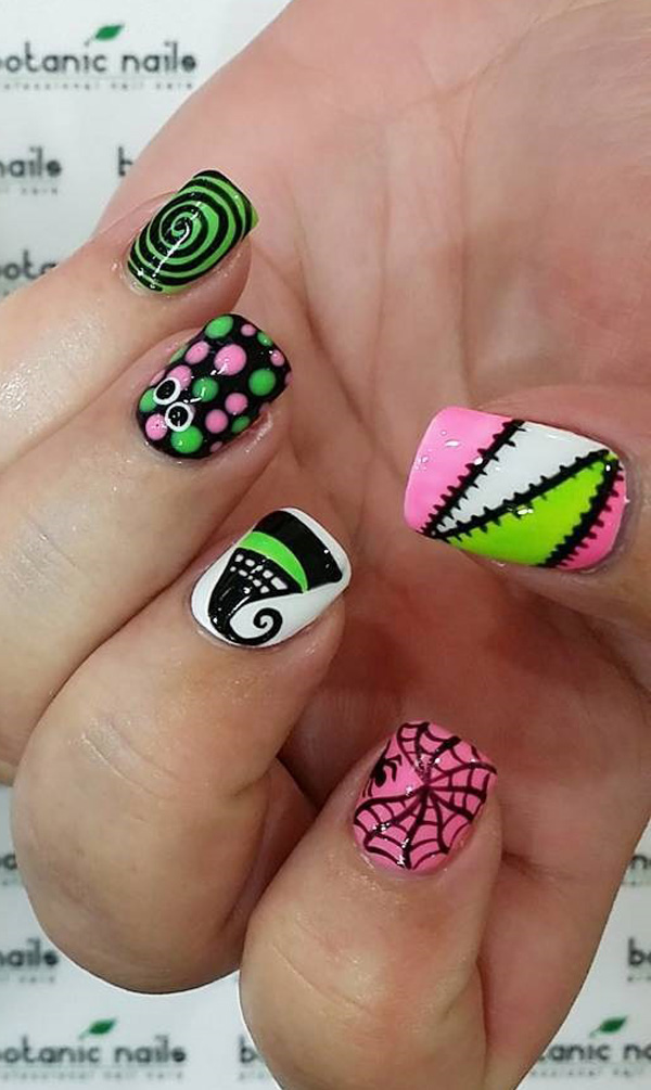 The outcome of your zombie nails depends on the theme you are working on,  when - 65 Halloween Nail Art Ideas - Nenuno Creative