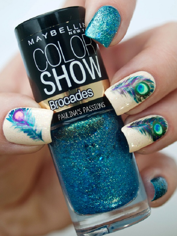 Peacock feather nails with metallic glitters