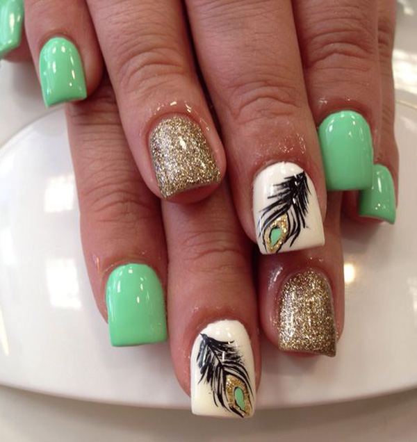 Peacock feathers  with glitter nail art
