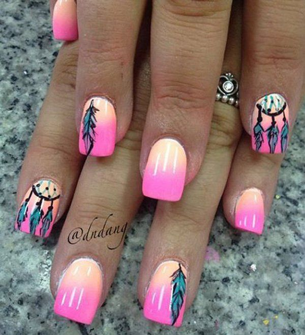 Summer inspired feather nail art with pink gradient background