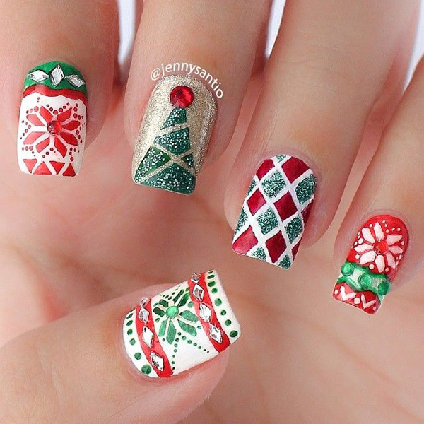 A perfect and Christmas ready nail art design. Paint on various details of  Christmas sweater - 65 Christmas Nail Art Ideas - Nenuno Creative
