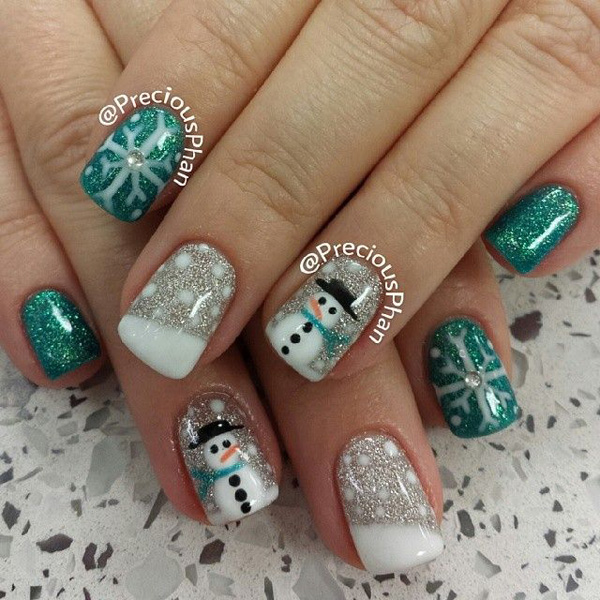 A Green And White Inspired Nail Art Draw In Your Favorite Snowman Designs As Well