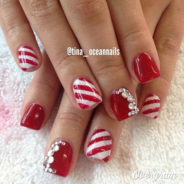 red and white christmas nail art theme make your nails your very own candy cane - Red Christmas Nails