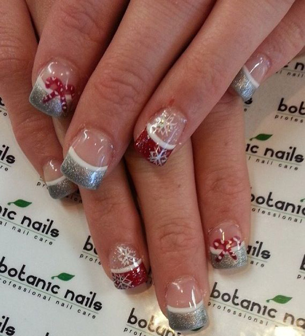 Christmas French tips. Draw the holiday season on your French tips with red  and silver - 65 Christmas Nail Art Ideas - Nenuno Creative