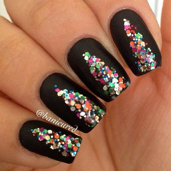 Nail polish and sequins Christmas nail art combination. By filling your  nails with a black - 65 Christmas Nail Art Ideas - Nenuno Creative