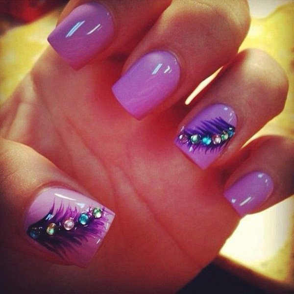 cute purple feather nails
