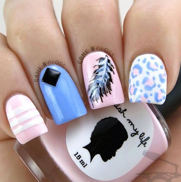 leopard and feather nails