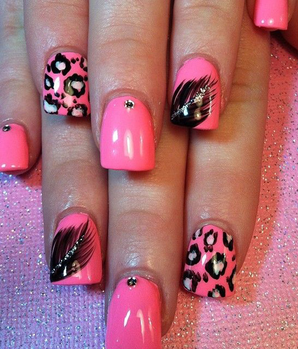 pink leopard feather nails