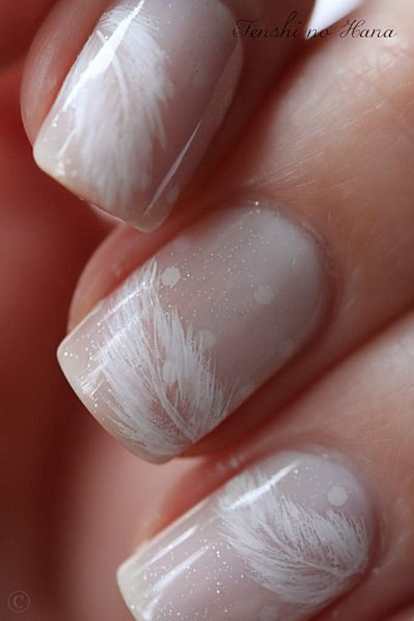 white feather nails