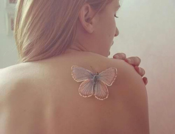 White 3D butterfly tattoo