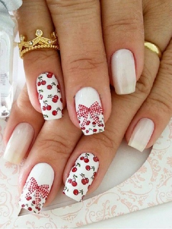55 bow nail art ideas nenuno creative this is a really cute cherry and bow nail art design the cute little cherry prinsesfo Choice Image
