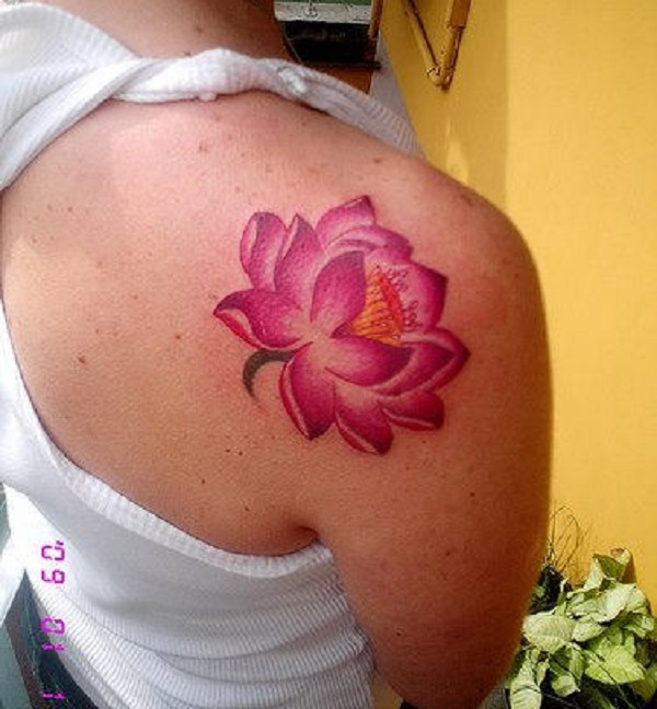 70 lotus tattoo design ideas nenuno creative beautiful pink lotus flower inked on the shoulder the pink lotus flower has a strong mightylinksfo