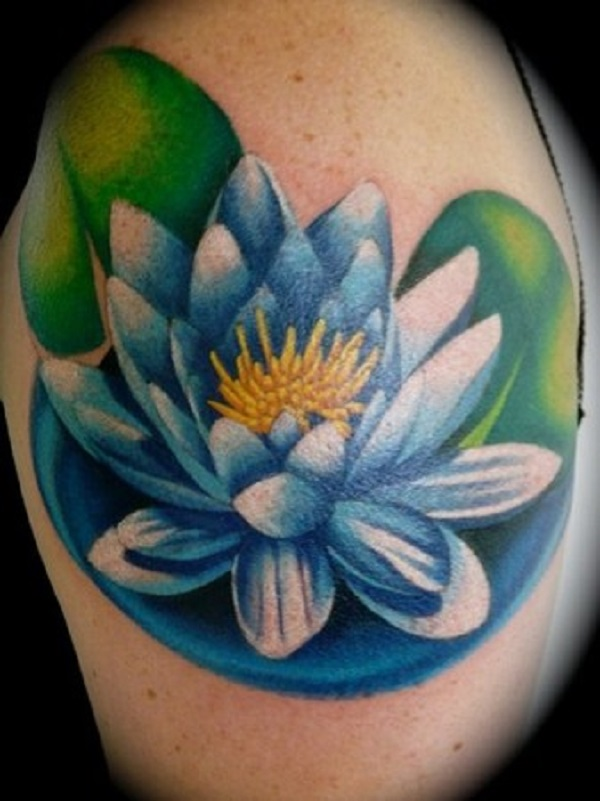 70 lotus tattoo design ideas nenuno creative a magnificent blue lotus flower tattoo the tattoo is enveloped by its leaves and the mightylinksfo