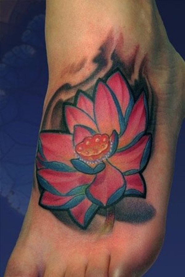 70 lotus tattoo design ideas nenuno creative a blooming blue lotus flower tattoo on the foot this beautiful looking tattoo depicts the mightylinksfo
