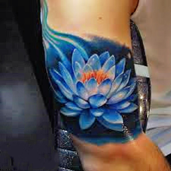 70 lotus tattoo design ideas nenuno creative magical looking blue lotus flower tattoo the lotus flower is seen to be riding the mightylinksfo