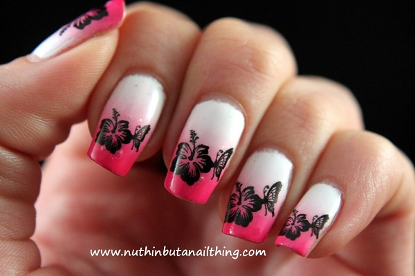 White And Pink Floral Ombre Nail Art Design A Very Simple Yet Beautiful Looking