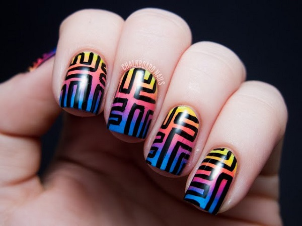 Tribal Inspired Ombre Nail Art Combine Rainbow Colors For Your And Highlight
