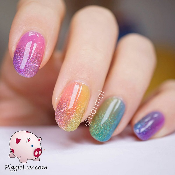 Fantastic And Colorful Ombre Glitter Nail Art Put Together Your Favorite Colors Into Beautiful