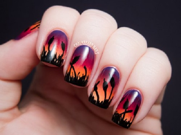 60 ombre nail art designs nenuno creative a sunset themed ombre nail art design the silhouettes of the flowers in black nail prinsesfo Images