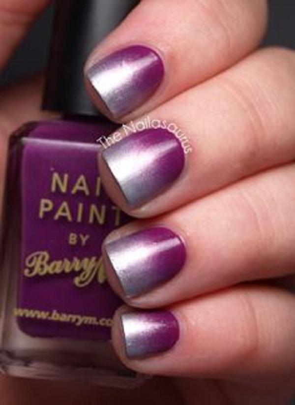 60 ombre nail art designs nenuno creative purple and silver ombre nail art design a great looking nail art design for short prinsesfo Image collections