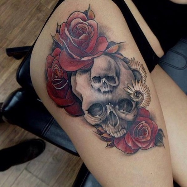80 frightening and meaningful skull tattoos nenuno creative for Meaningful thigh tattoos