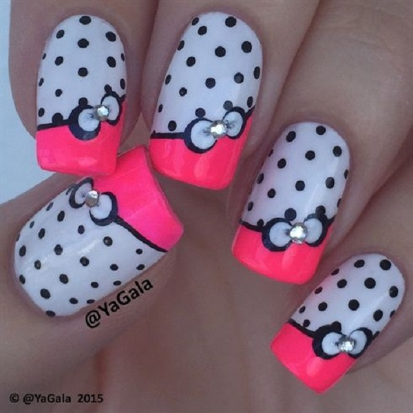 Pink Blue And White Color Combinations For A Bow Nail Art Polka Dots