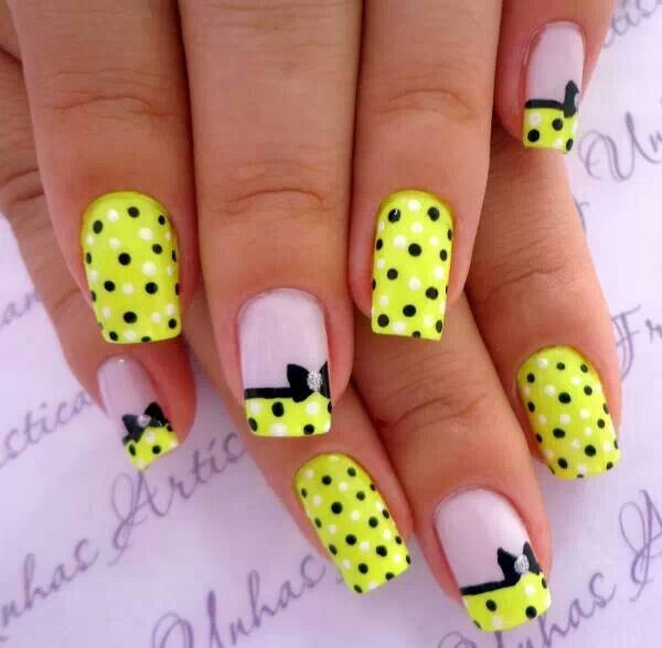 55 bow nail art ideas nenuno creative adorable black yellow and white bow nail art design coat your nails in cute prinsesfo Gallery