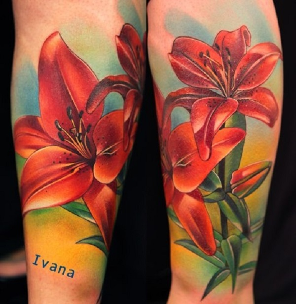A vibrant colorful lily flowers tattoo on forearm