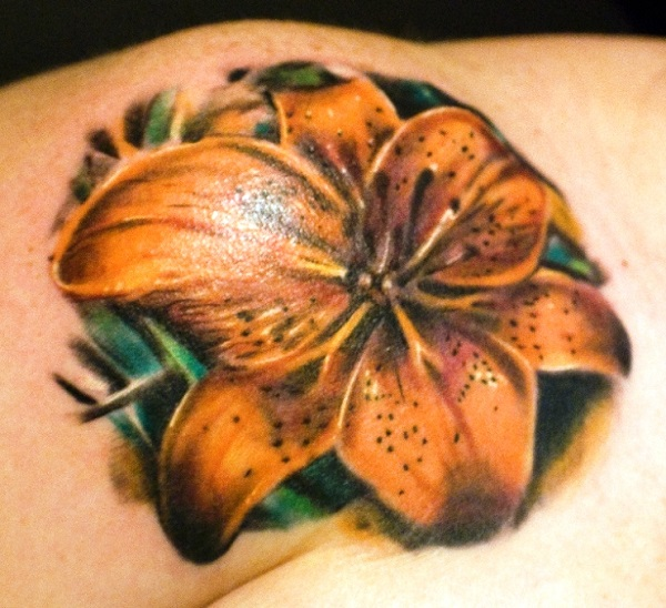 41a605342 lily flowers tattoo 23 - 60 Beautiful Lily Tattoo Ideas <3