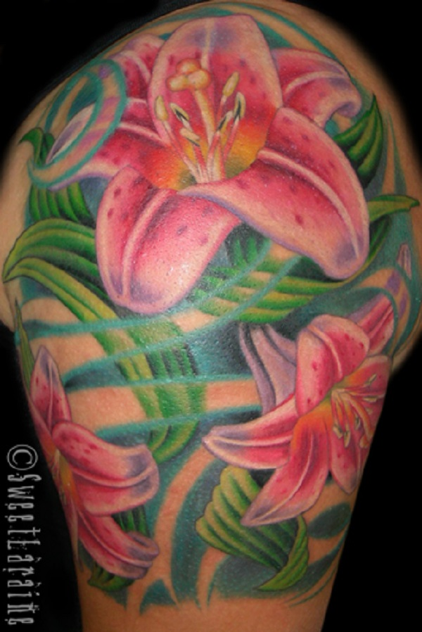 954ba8432 lily flowers tattoo 31 - 60 Beautiful Lily Tattoo Ideas <3