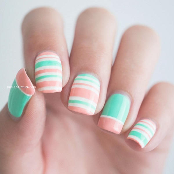 Concrete And Nail Polish Striped Nail Art: 55 Stripe Nail Art Ideas