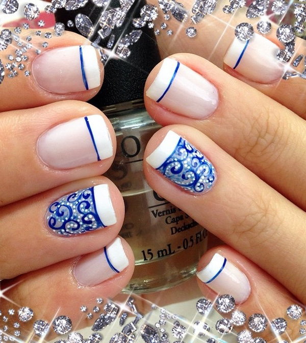 35 french nail art ideas nenuno creative beautiful white and blue french tips use the white polish as your french tip and prinsesfo Choice Image